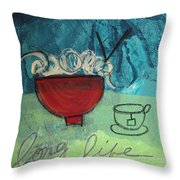 Long Life Noodles Throw Pillow by Linda Woods