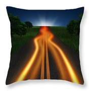 Long Road In Twilight Throw Pillow by Setsiri Silapasuwanchai