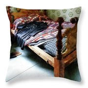 Long Sleeved Dress On Bed Throw Pillow by Susan Savad