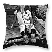 Longneck Beauty Bw Throw Pillow by Steve Harrington