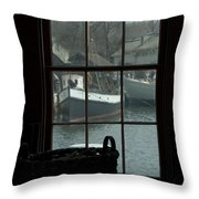 Looking Out Through A Window At Wooden Throw Pillow by Todd Gipstein