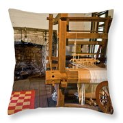 Loom And Fireplace In Settlers Cabin Throw Pillow by Douglas Barnett