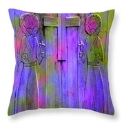 Los Santos Cuates - The Twin Saints Throw Pillow by Kurt Van Wagner
