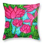 Lotus Bliss Throw Pillow by Lisa  Lorenz
