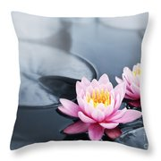 Lotus Blossoms Throw Pillow by Elena Elisseeva