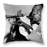 LOUIS ARMSTRONG 1900-1971 Throw Pillow by Granger