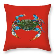Louisiana Blue on Red Throw Pillow by Dianne Parks