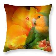 Love Among The Hibiscus Throw Pillow by Carol Cavalaris