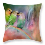 Love On A Rainbow Throw Pillow by Carol Cavalaris