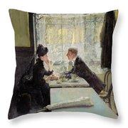 Lovers In A Cafe Throw Pillow by Gotthardt Johann Kuehl