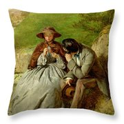 Lovers Throw Pillow by William Powell Frith