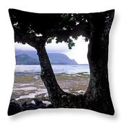 Low Tide And The Tree Throw Pillow by Kathy Yates