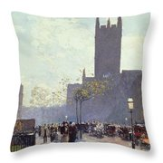 Lower Fifth Avenue Throw Pillow by Childe Hassam