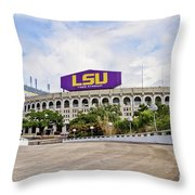 LSU Tiger Stadium Throw Pillow by Scott Pellegrin