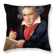 Ludwig Van Beethoven Composing His Missa Solemnis Throw Pillow by Joseph Carl Stieler