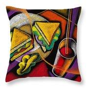 Lunch Throw Pillow by Leon Zernitsky