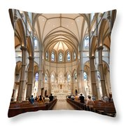 Lunchtime Mass At Saint Paul Cathedral Pittsburgh Pa Throw Pillow by Amy Cicconi