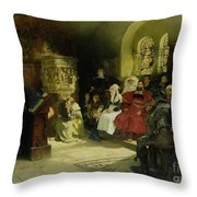 Luther Preaches Using His Bible Translation While Imprisoned At Wartburg Throw Pillow by Hugo Vogel