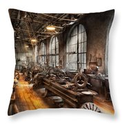 Machinist - A Room Full Of Lathes  Throw Pillow by Mike Savad