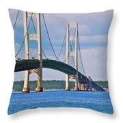 Mackinac Bridge Throw Pillow by Michael Peychich