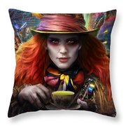 Mad As A Hatter Throw Pillow by Omri Koresh