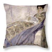 Madame Monet On A Sofa Throw Pillow by Pierre Auguste Renoir