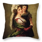Madame Rousseau And Her Daughter Throw Pillow by Elisabeth Louise Vigee Lebrun