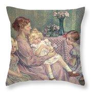 Madame Van De Velde And Her Children Throw Pillow by Theo van Rysselberghe