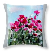 Maddy's Poppies Throw Pillow by Anne Duke