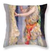 Mademoiselle Fleury In Algerian Costume Throw Pillow by Pierre Auguste Renoir