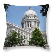 Madison Wi State Capitol Throw Pillow by Anita Burgermeister