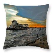 Madisonville Katrina Ghost Boat  Throw Pillow by Luana K Perez