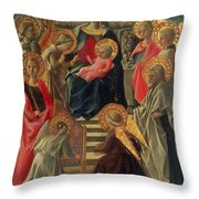 Madonna And Child Enthroned With Angels And Saints Throw Pillow by Fra Filippo Lippi