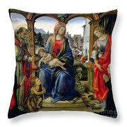 Madonna and Child Throw Pillow by Filippino Lippi