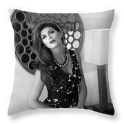 Madonna Chanel Bw Throw Pillow by William Dey