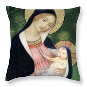 Madonna Of The Fir Tree Throw Pillow by Marianne Stokes