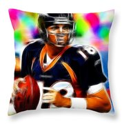 Magical Peyton Manning Borncos Throw Pillow by Paul Van Scott