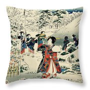 Maids in a snow covered garden Throw Pillow by Hiroshige