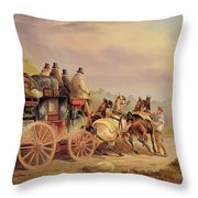 Mail Coaches on the Road - The 'Quicksilver'  Throw Pillow by Charles Cooper Henderson