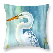 Majestic White Heron Throw Pillow by Lyse Anthony