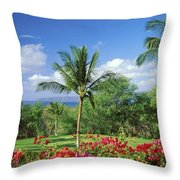 Makena Beach Golf Course Throw Pillow by Peter French - Printscapes
