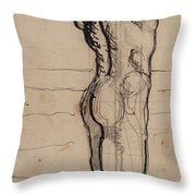 Male Act   Study For The Truth Throw Pillow by Ferdninand Hodler