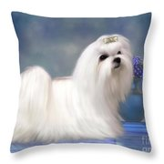 Maltese Dog Throw Pillow by Corey Ford