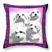 Maltese Group Throw Pillow by Kathleen Sepulveda