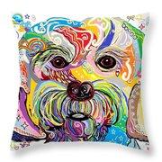 Maltese Puppy Throw Pillow by Eloise Schneider