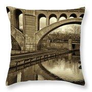 Manayunk Bridge Reflection Throw Pillow by Jack Paolini