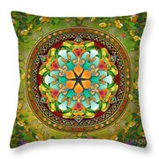 Mandala Evergreen Throw Pillow by Bedros Awak