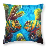 Mandarinfish- Bordered Throw Pillow by Sue Duda