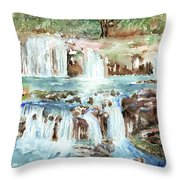 Many Waterfalls Throw Pillow by Arline Wagner