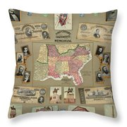 Map: Confederate States Throw Pillow by Granger